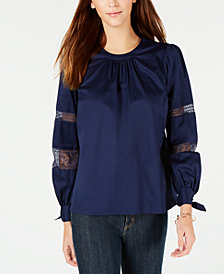MICHAEL Michael Kors Lace-Trimmed Pleat-Neck Blouse