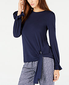 MICHAEL Michael Kors Statement-Sleeve Side-Tie Blouse