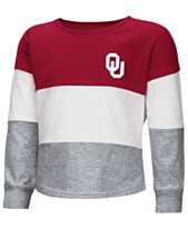 97525f54 Colosseum Oklahoma Sooners Tricolored Long Sleeve T-Shirt, Toddler Girls  (2T-4T