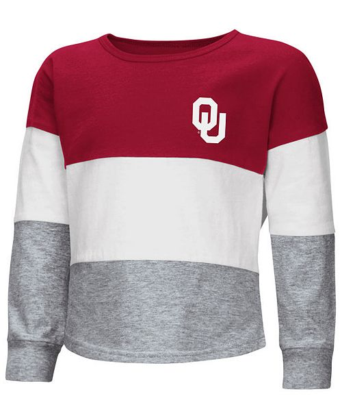 Colosseum Oklahoma Sooners Tricolored Long Sleeve T-Shirt, Toddler Girls (2T-4T)