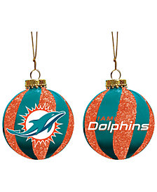 "Memory Company Miami Dolphins 3"" Sparkle Glass Ball"