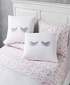 Lashes 6 Piece Queen Size Microfiber Sheet Set With Novelty Pillowcases