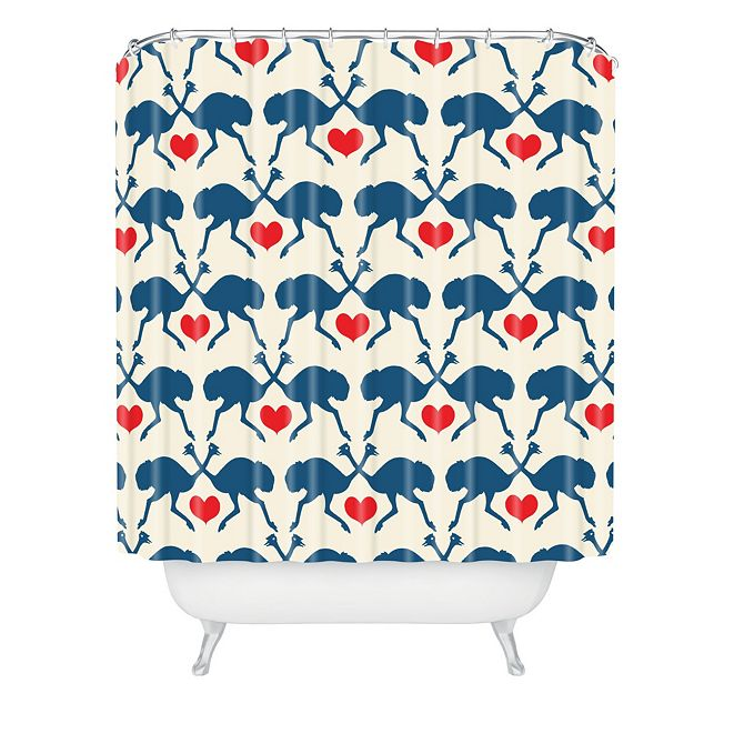 Deny Designs Holli Zollinger Ostrich And Heart Shower Curtain