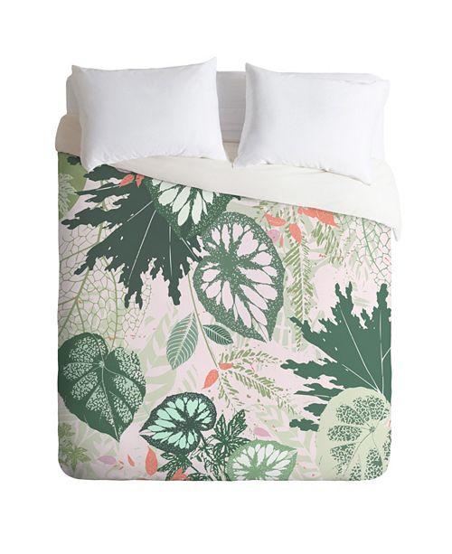 Deny Designs Iveta Abolina Alocasia Garden Green Twin Duvet Set