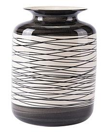 Stripes Tall Vase Black & Ivory