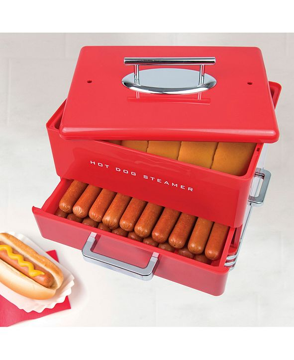 Nostalgia Large Diner Style Hot Dog Steamer