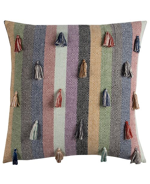 """Rizzy Home 20"""" x 20"""" Striped Tassled Poly Filled Pillow"""