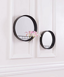 Round Mirror Shelf Lg Antique Black