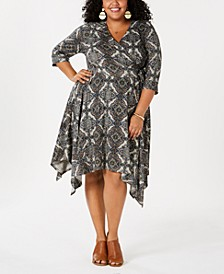 Plus Size Geometric Print Surplice Dress