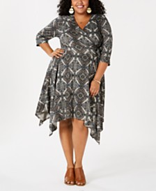 Love Squared Plus Size Geometric Print Surplice Dress