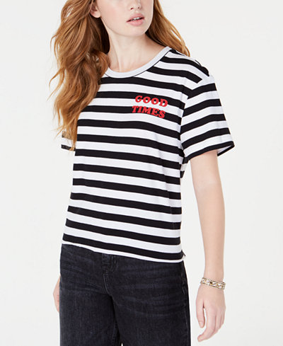 Rebellious One Juniors' Good Times Striped T-Shirt
