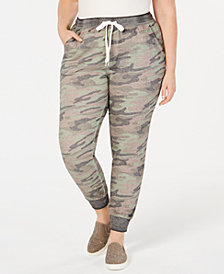 Planet Gold Plus Size Camo-Print Jogger Pants