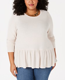 Soprano Plus Size Flounce-Bottom Sweater