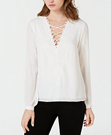 LEYDEN Lace-Trim Blouse