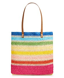 """Martha Stewart Collection Straw 17"""" x 14.8"""" Beach Tote, Created for Macy's"""
