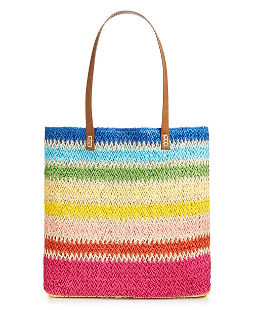 "Martha Stewart Collection  Straw 17"" x 14.8"" Beach Tote, Created for Macy's"