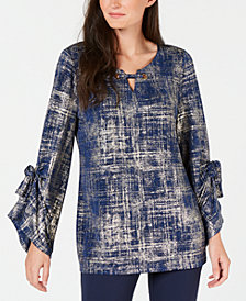 JM Collection Petite Metallic-Print Keyhole Top, Created for Macy's