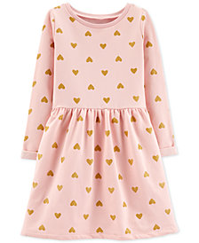 Carter's Little & Big Girls Gold Heart-Print Dress