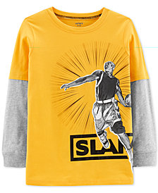 Carter's Little & Big Boys Slam Dunk Graphic Faux-Layer Cotton T-Shirt