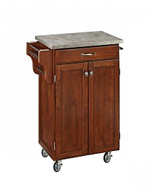 Home Styles Cherry Cuisine Cart with Concrete Top