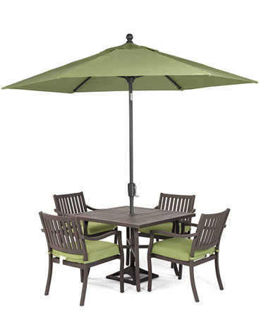 Madison outdoor aluminum 5 pc dining set 40 square for Metal patio table and 4 chairs
