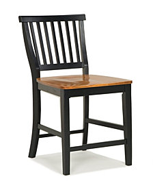 Home Styles 24 inch Black and Distressed Oak Bar Stool