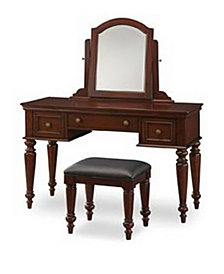 Home Styles Lafayette Cherry Vanity Table and Bench