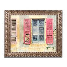Cora Niele 'Red Shutters' Ornate Framed Art