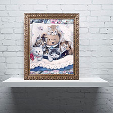 Jenny Newland 'Kittens And Teddy Bear' Ornate Framed Art