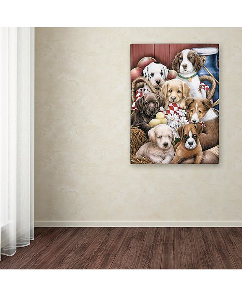 "Trademark Global Jenny Newland 'Puppy Pals' Canvas Art, 14"" x 19"""
