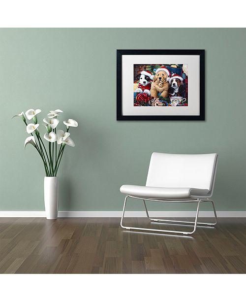 "Trademark Global Jenny Newland 'Sawry Santa Paws' Matted Framed Art, 11"" x 14"""