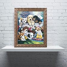 Jenny Newland 'Bath Time Pups' Ornate Framed Art