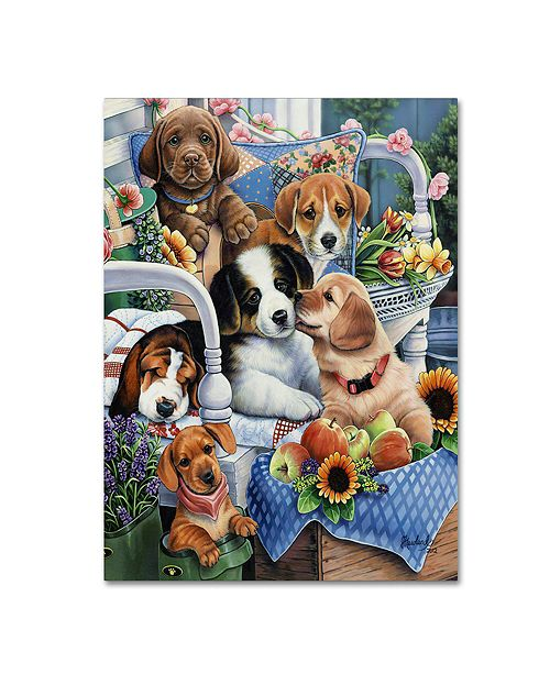 "Trademark Global Jenny Newland 'Country Pups' Canvas Art, 14"" x 19"""