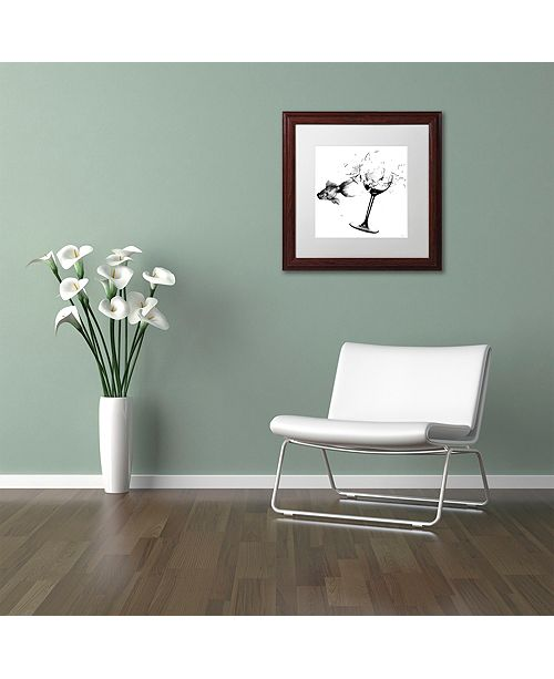 "Trademark Global Nick Bantock 'Fish & Wine Glass' Matted Framed Art, 16"" x 16"""