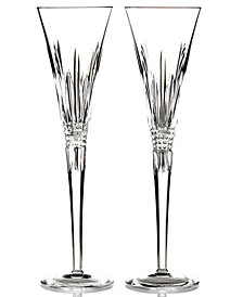 Waterford Stemware, Lismore Diamond Toasting Flutes, Set of 2