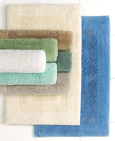 CLOSEOUT! Martha Stewart Collection Plush Squares Bath Rugs, 100% Cotton, Created for Macy's