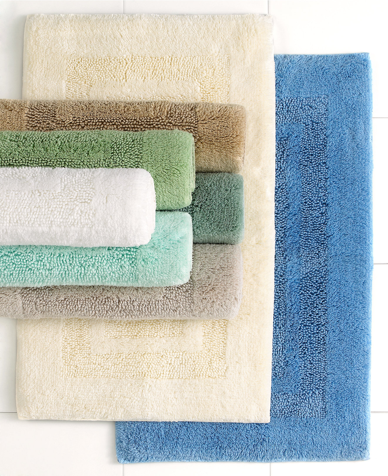 Chevron bathroom sets with shower curtain and rugs - Martha Stewart Collection Plush Squares Bath Rugs 100 Cotton Only At