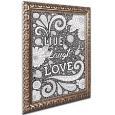 """Hello Angel 'Live Laugh Love Black' Ornate Framed Art, 11"""" x 14"""""""