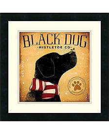 Amanti Art Black Dog Mistletoe Framed Art Print