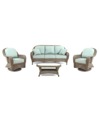 Sandy Cove Outdoor Wicker 4-Pc. Seating Set (1 Sofa, 2 Swivel Gliders and 1 Coffee Table), Created for Macy's