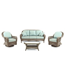 Sandy Cove Outdoor Wicker 4-Pc. Seating Set (1 Sofa, 2 Swivel Gliders and 1 Coffee Table), with Sunbrella® Cushions, Created for Macy's