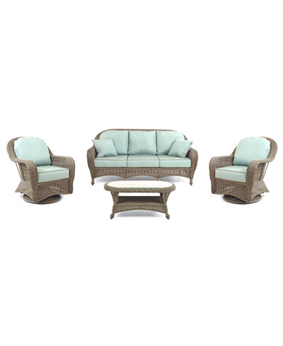 Sandy Cove Outdoor Wicker 4 Pc Seating Set 1 Sofa 2