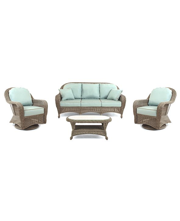 Furniture Sandy Cove Outdoor Wicker 4-Pc. Seating Set (1 Sofa, 2 Swivel Gliders and 1 Coffee Table), with Sunbrella® Cushions, Created for Macy's
