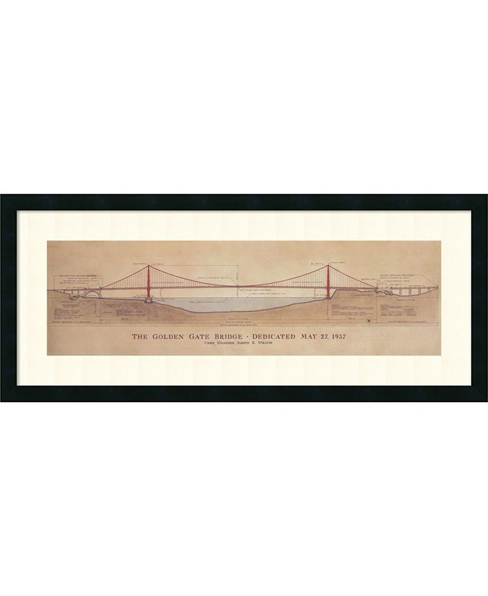 Amanti Art - Golden Gate Bridge 40x17 Framed Art Print