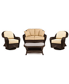Monterey Outdoor Wicker 4-Pc. Seating Set with Sunbrella® Cushions  (1 Loveseat, 2 Swivel Gliders and 1 Coffee Table), Created for Macy's
