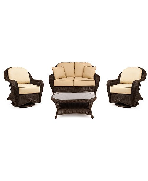 Furniture Monterey Outdoor Wicker 4-Pc. Seating Set with Sunbrella® Cushions  (1 Loveseat, 2 Swivel Gliders and 1 Coffee Table), Created for Macy's