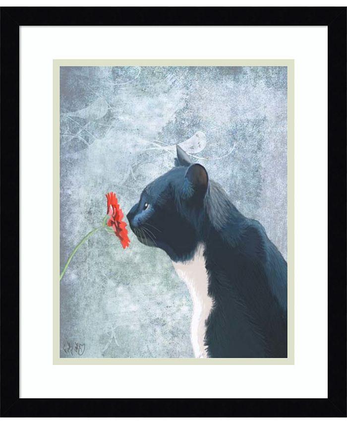 Amanti Art - Black Cat Sniffing Flower 16x19 Framed Art Print