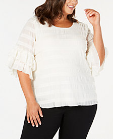 Alfani Plus Size Textured Ruffle-Sleeve Top, Created for Macy's