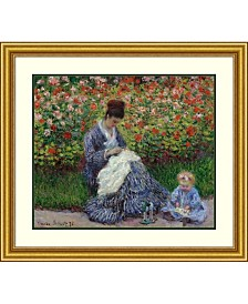 Amanti Art Camille Monet With A Child In Painter'S Garden At Argenteuil, 1875  Framed Art Print