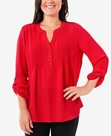Tab-Sleeve Henley Top